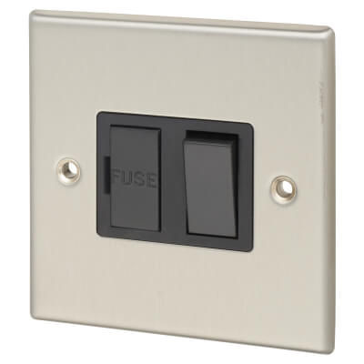Contactum 13A 1 Gang Unswitched Double Pole Connection Unit - Brushed Steel with Black Insert