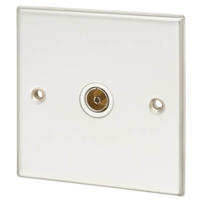 Contactum 1 Gang Coaxial Socket - Isolated - Polished Steel with White Insert)