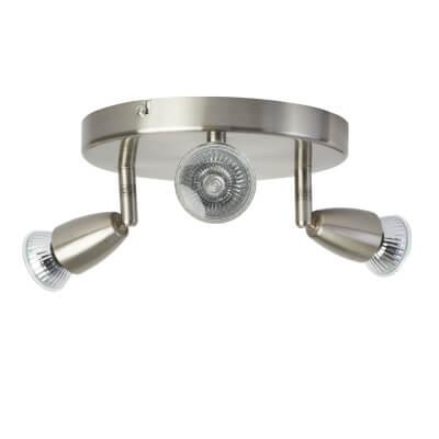 50W Circular Spotlight - 3 Light - Satin Nickel )