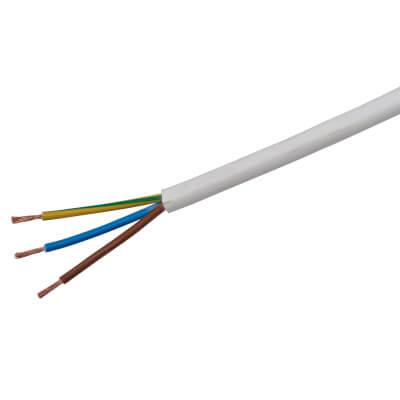 3183B 3 Core LSF Round Flex - 1mm² x 50m - White