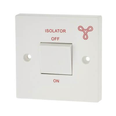 Contactum 1 Gang 3 Pole Fan Isolator - White