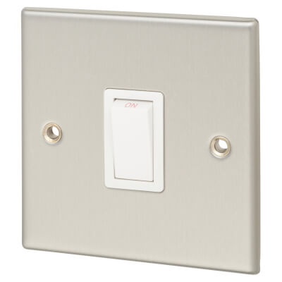 Contactum 20A 1 Gang Double Pole Control Switch - Brushed Steel with White Insert