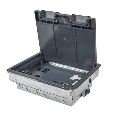 Tass Commercial Floor Box - 3 Compartment - Galvanised)