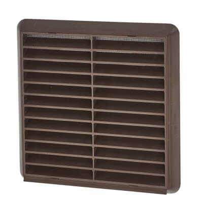 Manrose 6 Inch Wall Grill Fixed Shutter -110mm - Brown