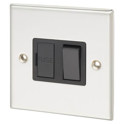 Contactum 13A 1 Gang Switched Connection Unit - Polished Steel with Black Insert