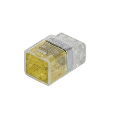 Hellermann 2 Way Push In Connector - Yellow