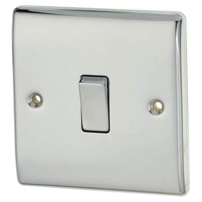 BG 10A 1 Gang 2 Way Light Switch - Polished Chrome)
