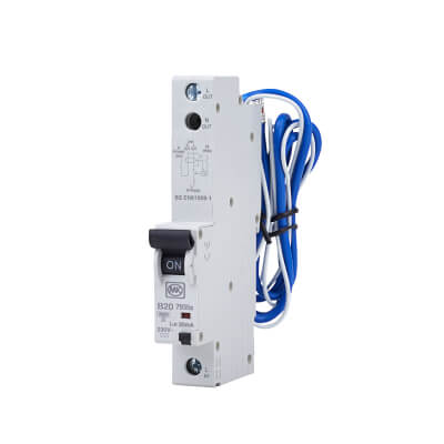 MK Sentry 20A 30mA Single Pole RCBO - Type B)