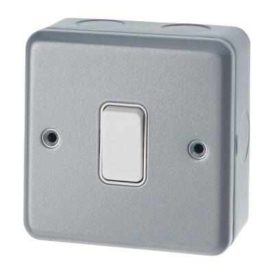 MK 10A 1 Gang Single Pole 2 Way Metalclad Switch - Grey