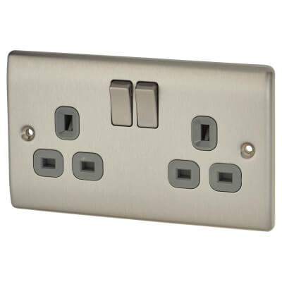 BG 13A 2 Gang Switched Socket - Black Insert - Brushed Steel with Grey Insert)