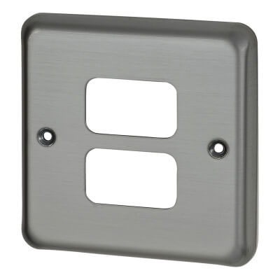 MK 2 Gang Grid Cover Plate - Matt Chrome