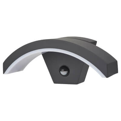 Integral LED 7.5W Curve Outdoor Wall Light with PIR - Dark Grey)