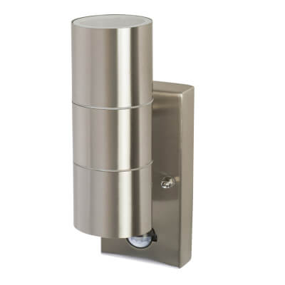 Saxby 35W Twin Outdoor Light with PIR - Brushed Stainless)