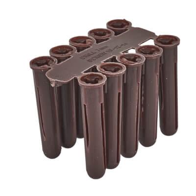 Tri Wall Plugs - 40mm - Brown - Pack 100)