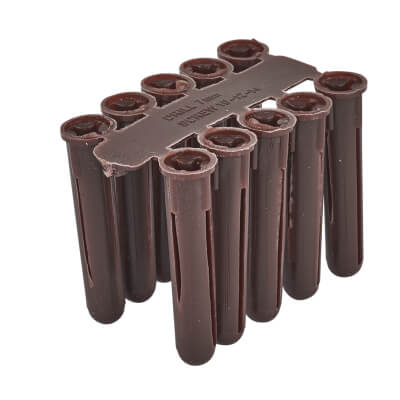 Tri Wall Plugs - 40mm - Brown - Pack 100)