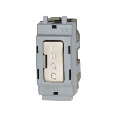 BG 13A Grid Fused Outlet Module - Brushed Steel)