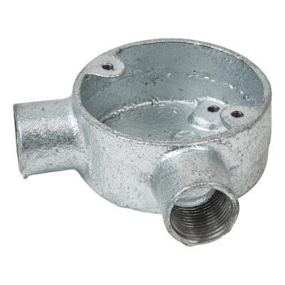 Steel Conduit Angle Box - 20mm - Galvanised