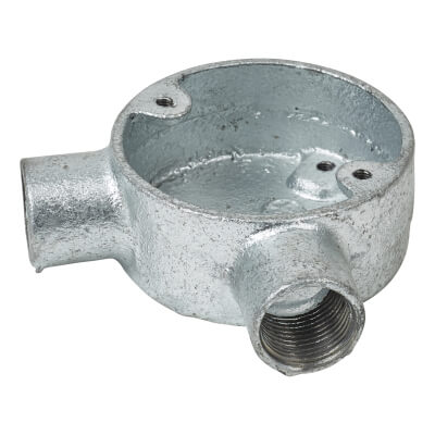 Steel Conduit Angle Box - 20mm - Galvanised)