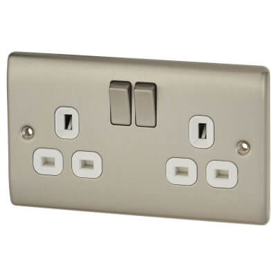 BG 13A 2 Gang Switched Socket - White Insert - Brushed Steel