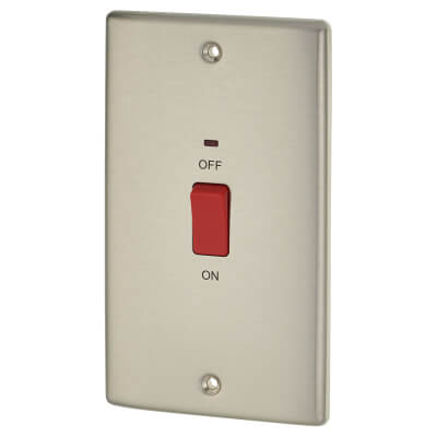 BG 45A Double Pole Double Plate Cooker Control Unit with Neon - Brushed Steel)