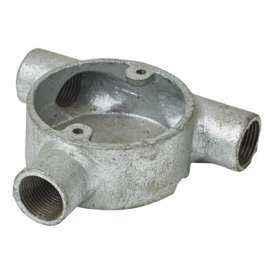 Steel Conduit Tangent Tee Box - 20mm - Galvanised)