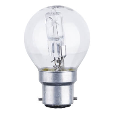 28W BC Halogen Golf Ball Lamp - Dimmable - Clear)