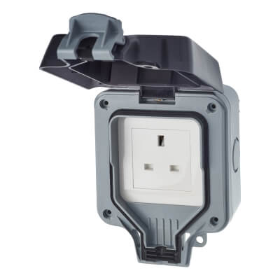 BG 13A IP66 1 Gang Weatherproof Unswitched Socket Outlet - Grey