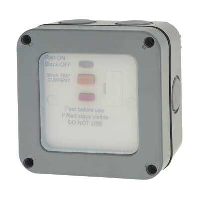 BG 13A IP66 1 Gang Weatherproof 30mA RCD Protected Switched Fused Connection Unit - Grey