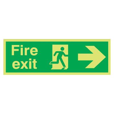 NITE GLO Fire Exit Running Man with Arrow - Right - 150 x 450mm - Rigid Plastic)