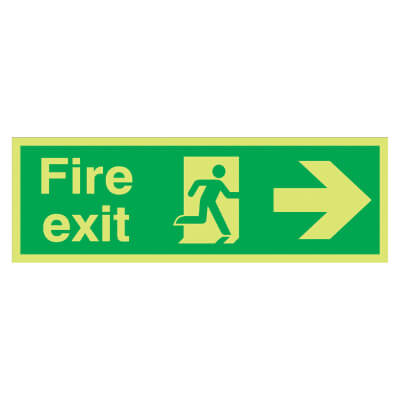 NITE GLO Fire Exit Running Man with Arrow - Right - 150 x 450mm - Rigid Plastic)