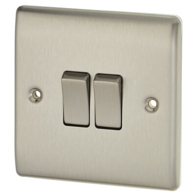 BG 10A 2 Gang 2 Way Single Pole Light Switch - Brushed Steel)