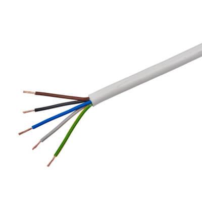 3095Y 5 Core Heat Resistant Flex - 0.75mm² x 10m - White)