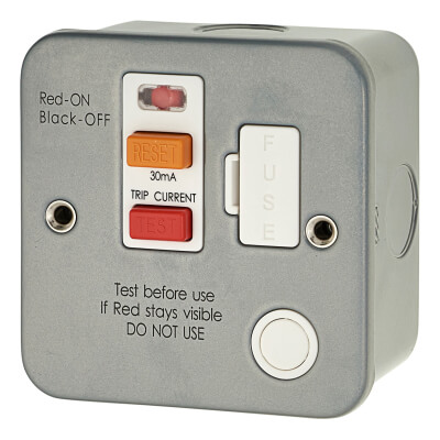 13A 1 Gang RCD Metal Clad Spur - Grey