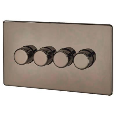 BG Screwless Flatplate 400W 4 Gang 2 Way Dimmer Switch - Black Nickel)