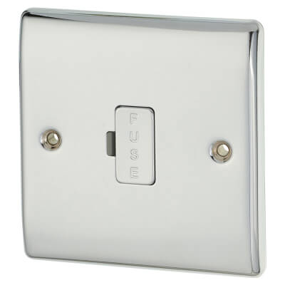 BG 13A 1 Gang Unswitched Fuse Spur Unit - Polished Chrome