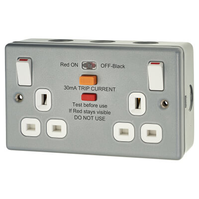 13A 2 Gang Double RCD Metal Clad Socket - Grey