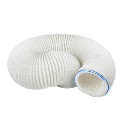 Manrose 5 Inch PVC Flexible Ducting - 3m - White)