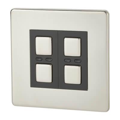 LightwaveRF 2 Gang Smart Dimmer Switch - Chrome)