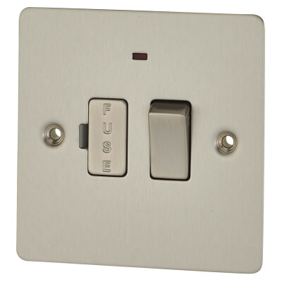 BG 13A 1 Gang Flat Plate Switched Fuse Spur Unit with Neon - Brushed Steel)