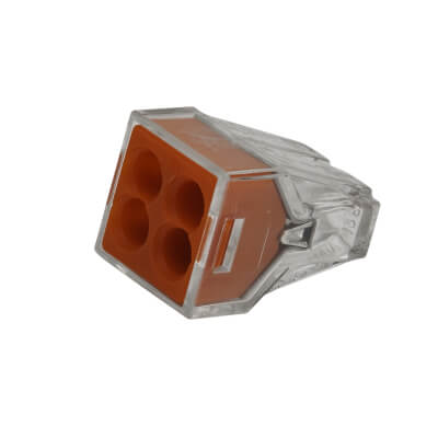 Wago 4W Push Connector - Red - Pack 10