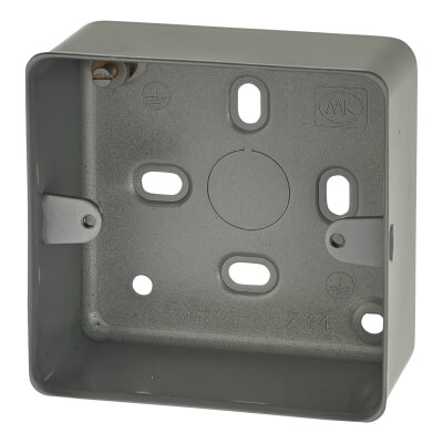 MK 1 Gang Metal Back Box without Knock Out - 41mm)