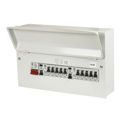 MK Sentry 10 Way 100A Dual Split Load High Integrity Consumer Unit with 10 MCBs - Fully Loaded)
