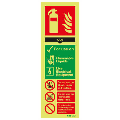 NITE GLO Fire Extinguisher Sign - CO2 - 300 x 100mm - Rigid Plastic)