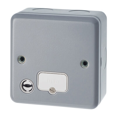MK 13A 1 Gang Metalclad Unswitched Connection Unit with Flex Outlet - Grey