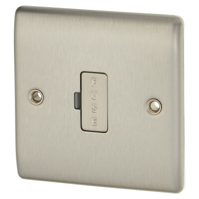 BG 13A 1 Gang Unswitched Fuse Spur Unit - Brushed Steel