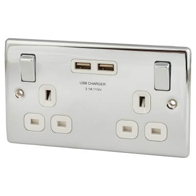 BG 13A 2 Gang Switched Socket with 2 x USB - 2.1A - Polished Chrome)