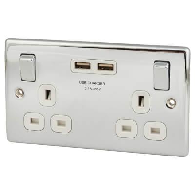 BG 13A 2 Gang Switched Socket with 2 x USB - 2.1A - Polished Chrome)