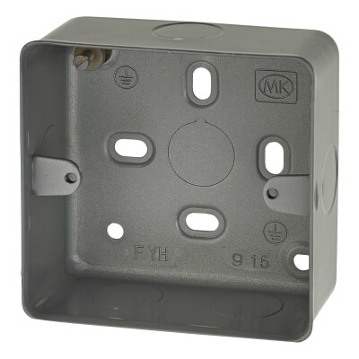 MK 1 Gang Metal Back Box with Knock Out - 41mm - Grey)