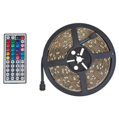 36W Remote Controlled LED Strip Light - 5m - Colour Changing)