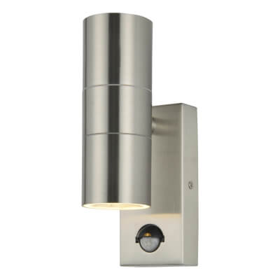Zinc Leto Up/Down Outdoor Light with PIR - Brushed Steel)